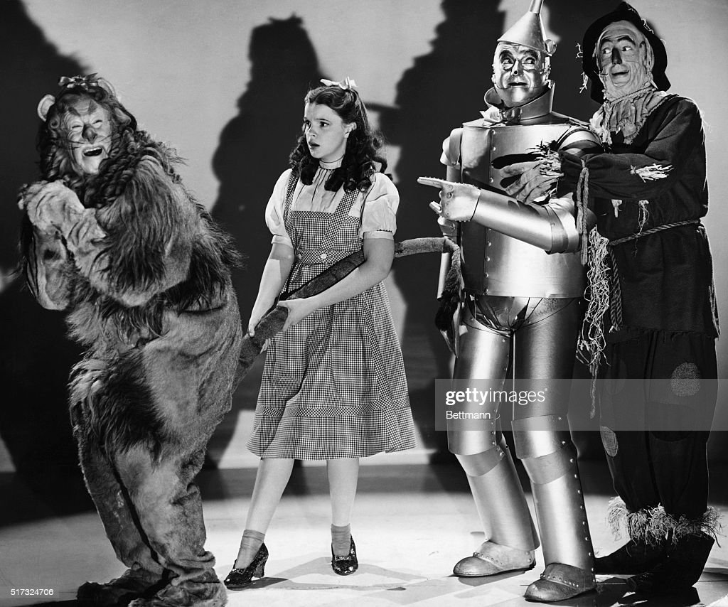 Consisting of Judy Garland, Bert Lahr, Jack Haley and Ray Bolger in the Metro-Goldwyn-Mayer all-Technicolor production 'The Wizard of Oz.' The film, produced by Mervyn Le Roy, was directed by Victor Fleming.