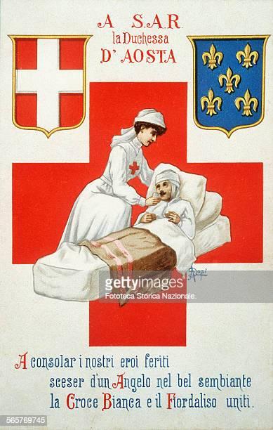 'A consolare i nostri eroi feriti sceser d'un Angelo nel bel sembiante la Croce Bianca e il Fiordaliso uniti ' Postcard dedicated to HRH the Duchess...