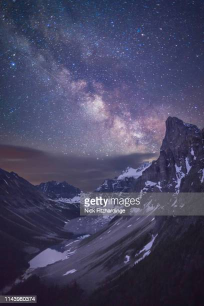 consolation valley and the milky way from the tower of babel, banff national park, alberta, canada - canadian rockies stock pictures, royalty-free photos & images