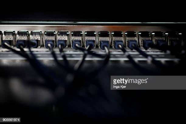 Console cables of a server in a data room on January 12 2018 in Berlin Germany