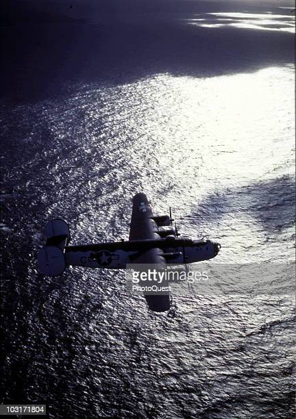 Consolidated PB4Y-1 Liberator Patrol Bomber heads out of the Bay of Biscay on an anti-submarine patrol, circa summer 1943.