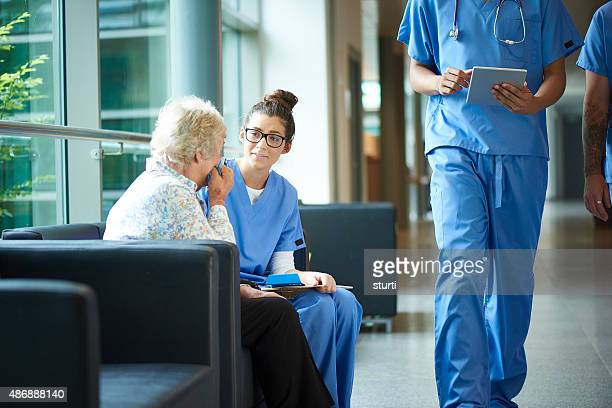 consoling a worried relative in the hospital