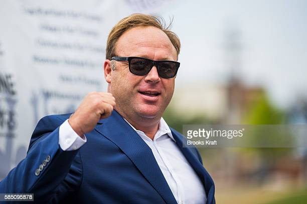 Conspiracy theorist and radio talk show host Alex Jones speaks during a rally in support of Donald Trump near the Republican National Convention...