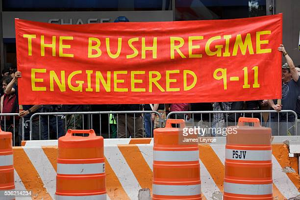 9/11 conspiracy theorists protest outside the memorial service at the World Trade Center construction site marking the 10th anniversary of the...