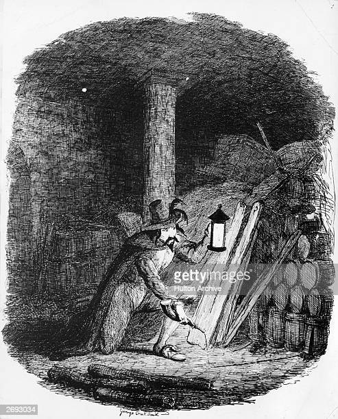 Conspirator Guy Fawkes attempts to plant gunpowder in the cellar of the Palace of Westminster 5th November 1605 Engraved by George Cruikshank
