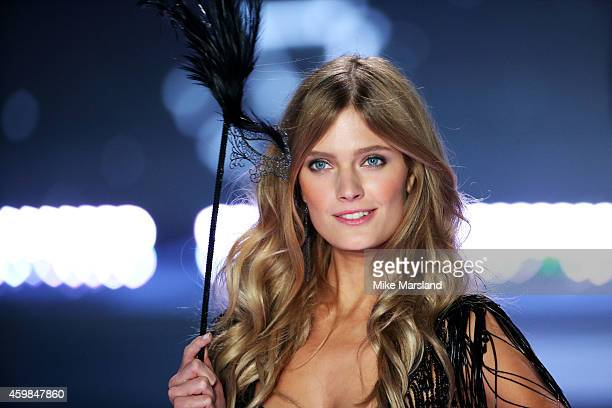 Constance Jablonsk walks the runway at the annual Victoria's Secret fashion show at Earls Court on December 2, 2014 in London, England.