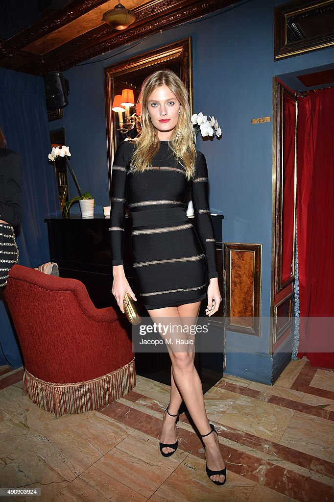 detailed images pretty nice on sale Constance Jablonski attends Balmain aftershow party as part ...