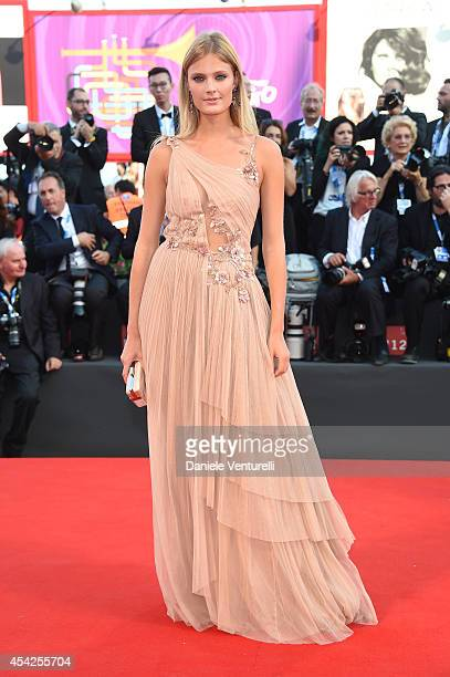 Constance Jablonski attends the Opening Ceremony and 'Birdman' premiere during the 71st Venice Film Festival at Palazzo Del Cinema on August 27, 2014...