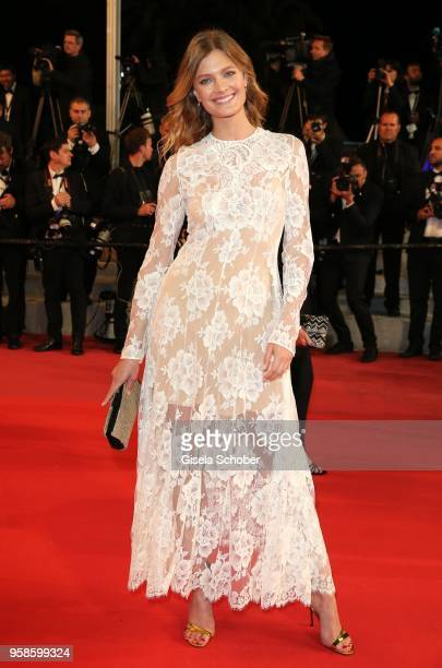 Constance Jablonski attends the screening of 'The House That Jack Built' during the 71st annual Cannes Film Festival at Palais des Festivals on May...