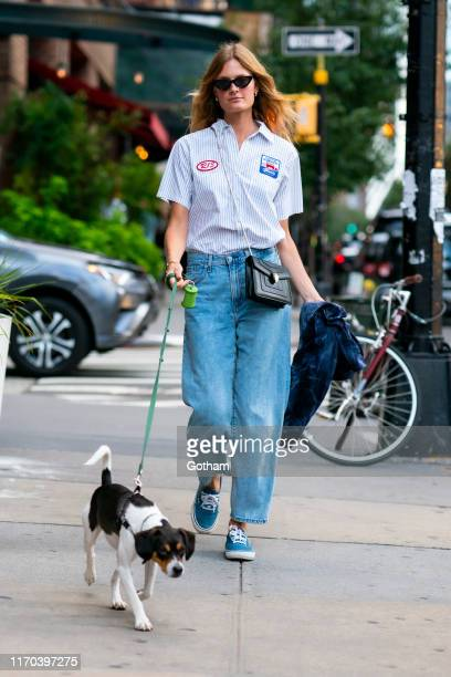 Constance Jablonski is seen walking her puppy Ariana in Tribeca on August 26 2019 in New York City