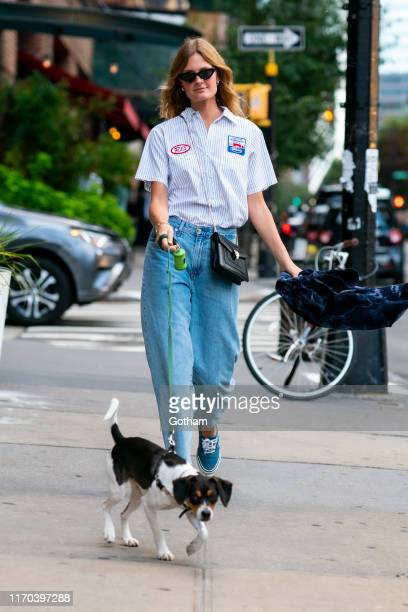 Constance Jablonski is seen walking her puppy Ariana in Tribeca on August 26, 2019 in New York City.