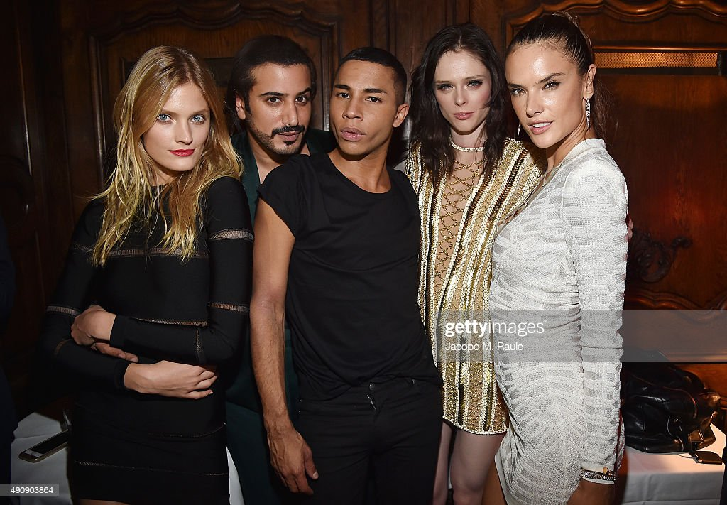 Constance Jablonski, Mohamed Sultan, Olivier Rousteing, Coco Rocha and Alessandra Ambrosio attend Balmain aftershow party as part of Paris Fashion Week Womenswear Spring/Summer 2016 at Laperouse on October 1, 2015 in Paris, France.