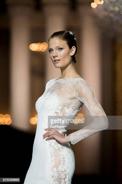 Constance Jablonski walks the runway at the Pronovias fashion show as part of 'Barcelona Bridal Week 2015' on May 8 2015 in Barcelona Spain