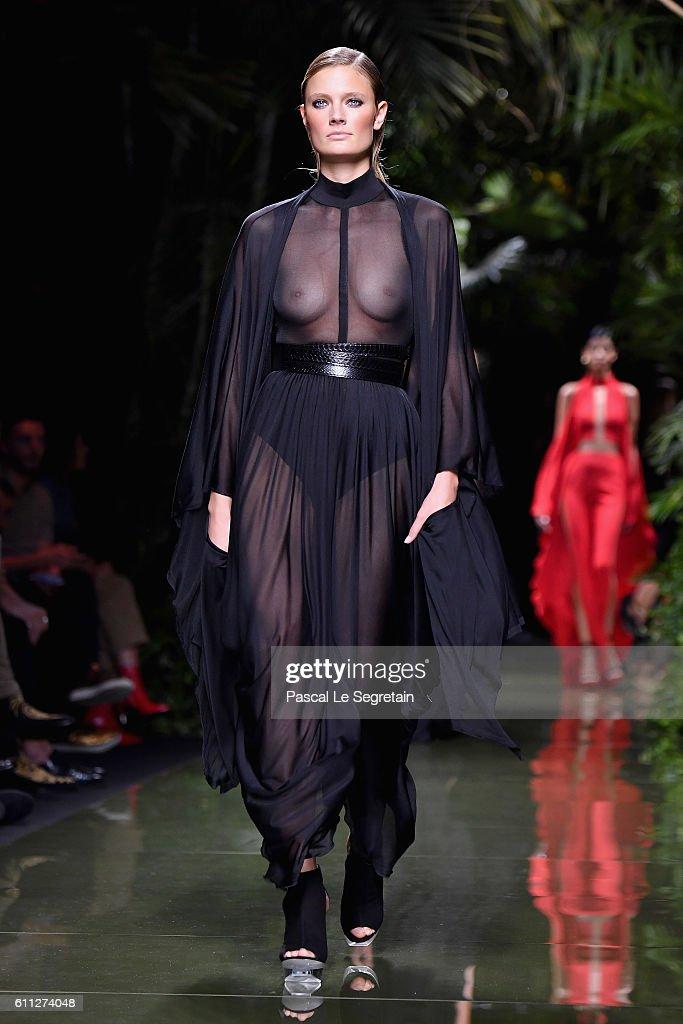 best value half off factory price Constance Jablonski walks the runway during the Balmain show ...