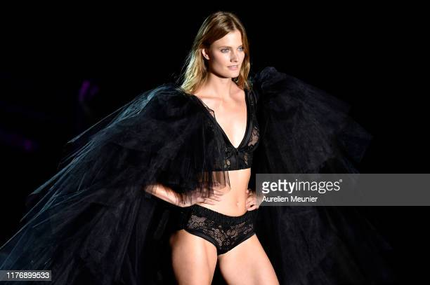 Constance Jablonski walks the runway during the Etam Winter 2019/Summer 2020 show as part of Paris Fashion Week At Roland Garros on September 24,...
