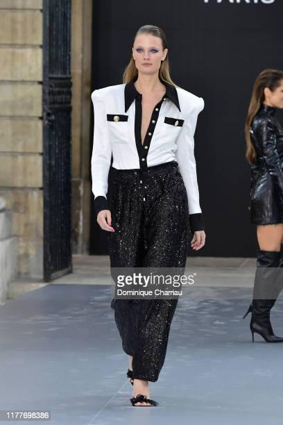 "Constance Jablonski walks the runway during the ""Le Defile L'Oreal Paris"" Show as part of Paris Fashion Week on September 28, 2019 in Paris, France."