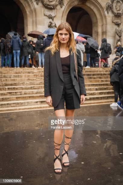 Constance Jablonski wearing Stella McCartney jacket shorts strap heels and bag outside Stella McCartney during Paris Fashion Week Womenswear...