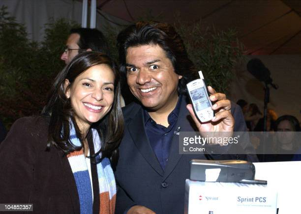 Constance Marie and George Lopez visits the Sprint Audiovox table at Backstage Creations Talent Retreat