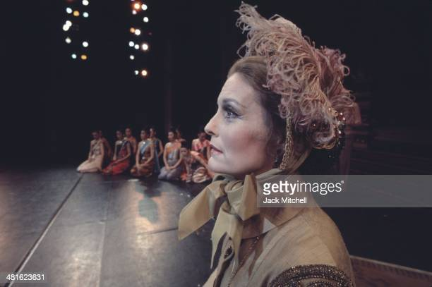 Constance Towers performing on stage with the Broadway cast of 'The King and I' in 1977
