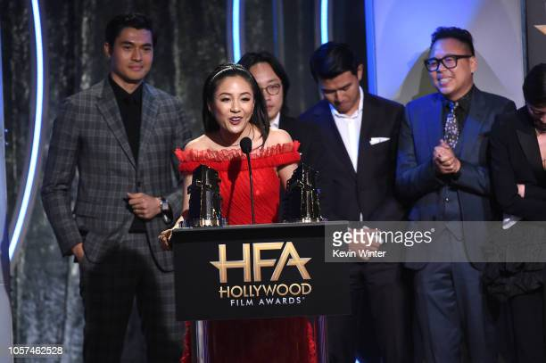 Constance Wu and back Henry Golding Jimmy O Yang Ronny Chieng and Nico Santos accept the Hollywood Breakout Ensemble Award onstage during the 22nd...
