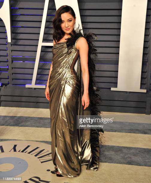 Constance Wu attends the 2019 Vanity Fair Oscar Party hosted by Radhika Jones at Wallis Annenberg Center for the Performing Arts on February 24 2019...