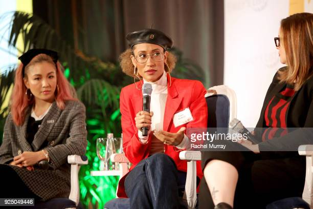 Constance Wu Elaine Welteroth and Amber Tamblyn speak onstage at EMILY's List's Resist Run Win PreOscars Brunch on February 27 2018 in Los Angeles...