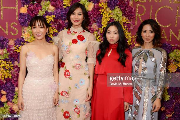 Constance Wu Gemma Chan Awkwafina and Jing Lusi attend a special screening of 'Crazy Rich Asians' at The Ham Yard Hotel on September 4 2018 in London...