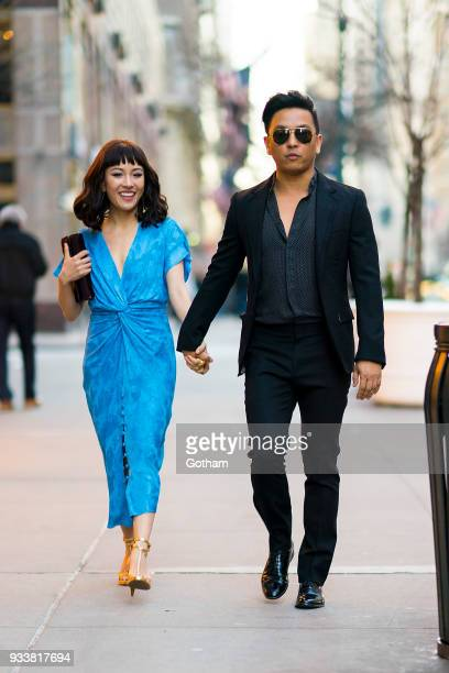 Constance Wu seen wearing Prabal Gurung with designer Prabal Gurung in Midtown on March 18 2018 in New York City