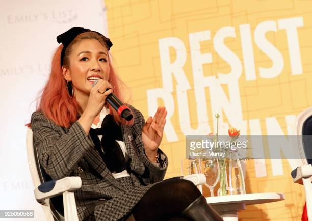 Constance Wu speaks onstage at EMILY's List's Resist Run Win PreOscars Brunch on February 27 2018 in Los Angeles California