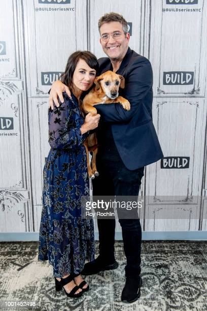 Constance Zimmer and Craig Bierko with Boo the dog discuss UnREAL with the Build series at Build Studio on July 18 2018 in New York City