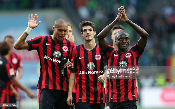 Constant Djakpa Lucas Piazon and Anderson of Frankfurt applauds the fans after the Bundesliga match between VfL Wolfsburg and Eintracht Frankfurt at...