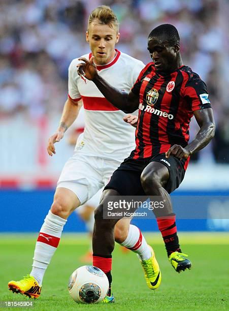 Constant Djakpa of Frankfurt is challenged by Alexandru Maxim of Stuttgart during the Bundesliga match between VfB Stuttgart and Eintracht Frankfurt...
