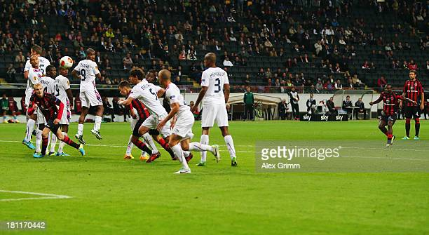 Constant Djakpa of Frankfurt scores his team's third goal with a free-kick during the UEFA Europa League Group F match between Eintracht Frankfurt...