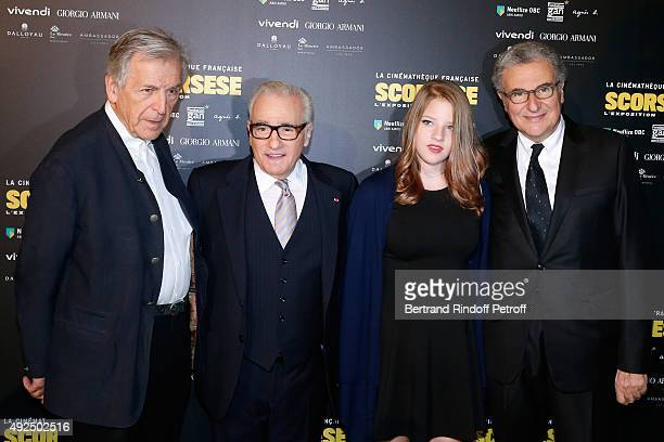Constantin CostaGavras Martin Scorsese his daughter Francesca and Director of the 'French Cinematheque' Serge Toubiana attend the Tribute to Director...