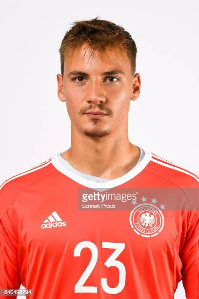 Constantin Frommann poses during the team presentation of the German U20 national football team on August 29 2017 in Herzogenaurach Germany