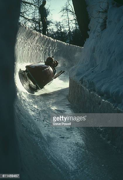 Constantin Iancu Ion Dumincel Doru Francu Constantin Obreja of Romania in Romania 2 during their run in the Men's Four Bobsleigh at the XIII Olympic...