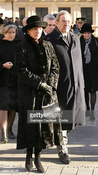 HRH Constantin of Greece and HRH Anne Marie of Greece attend the funeral of Grand Duchess of Luxembourg JosephineCharlotte daughter of former Belgian...