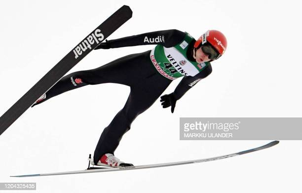 Constantin Schmid of Germany competes during the first round of the men's ski jumping large hill competition at the FIS World Cup Lahti Ski Games...
