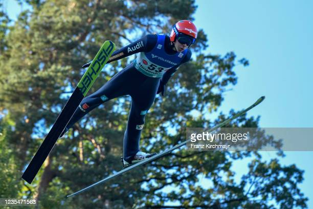 Constantin Schmid of Germany competes during the FIS Grand Prix Skijumping Hinzenbach at on February 6, 2021 in Eferding, Austria.