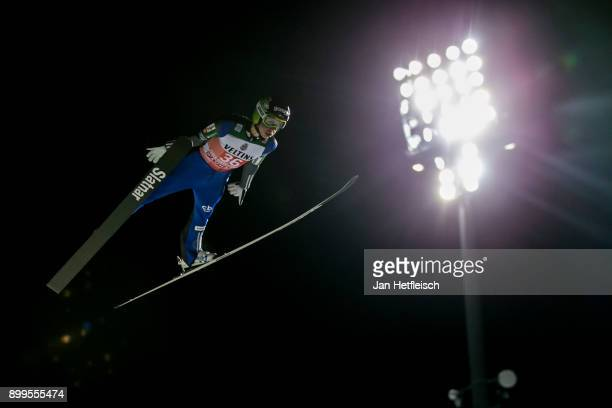 Constantin Schmid of Germany competes during the qualification round for the Four Hills Tournament on December 29 2017 in Oberstdorf Germany