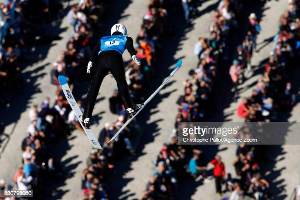 Constantin Schmid of Germany in action during the Men's HS 132 at the FIS Grand Prix Ski Jumping on August 12 2017 in Courchevel France