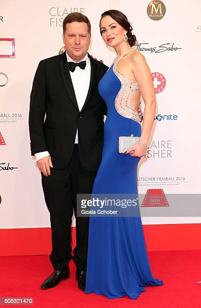 Constantin Wahl and his wife Mary Ann Wahl during the German Film Ball 2016 arrival at Hotel Bayerischer Hof on January 16 2016 in Munich Germany