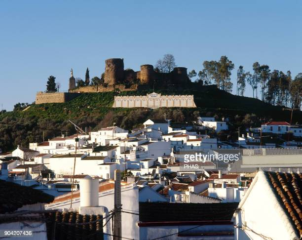 Constantina province of Seville Andalusia Spain Ruins of the castle located in the Sierra Norte Constantina was the principal town of a district...