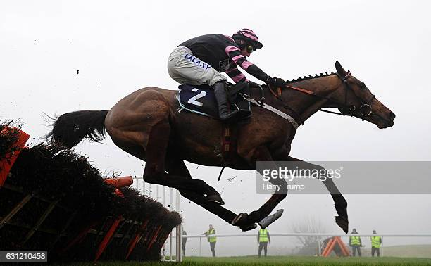 Constantine Bay ridden by Daryl Jacob jumps the last to win the Bathwick Tyres Novices Hurdle at Chepstow Racecourse on January 8 2017 in Chepstow...