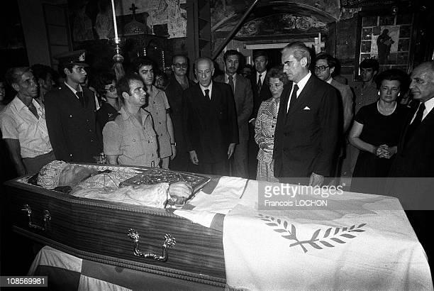 Constantine Caramanlis in the basilica of Palouriotissa in Nicosia, Cyprus on August 08th , 1977.