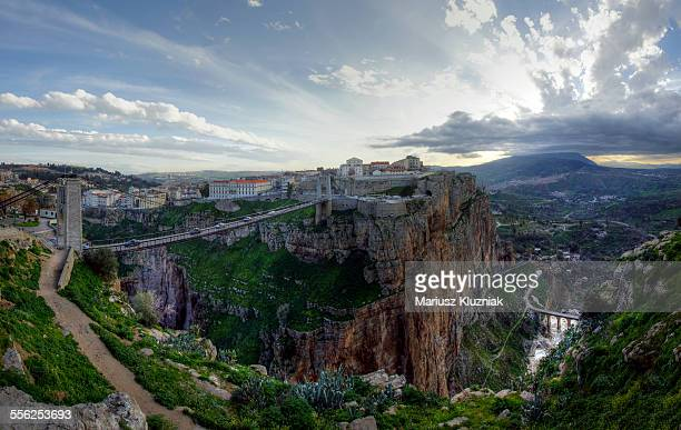 constantine gorge, hanging bridge and stormy cloud - algeria stock pictures, royalty-free photos & images