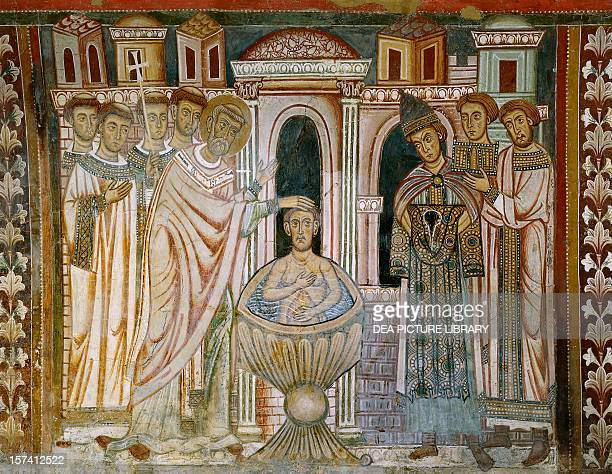 Constantine, having been cured of leprosy, receiving the baptism, detail from the Legend of Constantine and St Sylvester lunette from the Chapel of...
