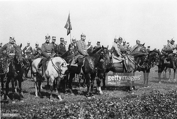 Constantine I and Wilhelm II, Constantine I , son of King George I, King of Greece, Wilhelm II , grandson of Wilhelm I, Kaiser of Germany.