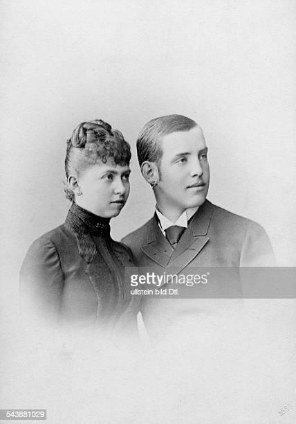 Constantine I. - Crown Prince of Greece*02.08.1868-+- with Princess Sophie von Preussen - Photographer: Wilhelm Hoeffert- 1888Vintage property of...