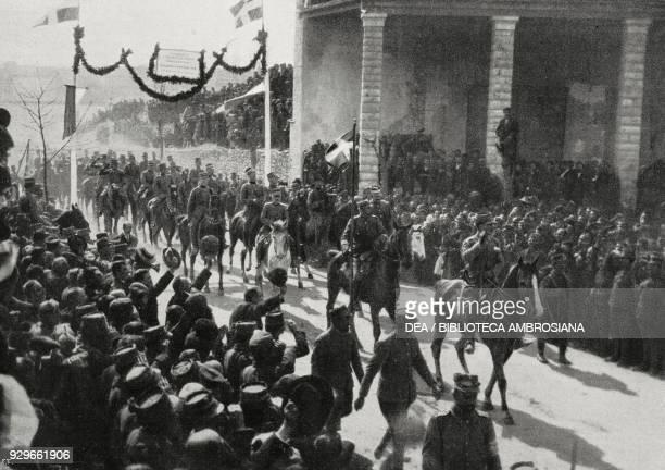 Constantine I of Greece, head of the Chiefs of Staff entering Ioannina, Greece, First Balkan War, from L'Illustrazione Italiana, Year XL, No 13,...